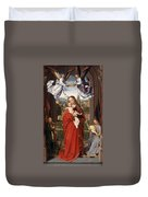 Virgin And Child With Four Angels Duvet Cover