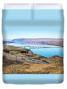 Wanapum Lake Colombia River Wild Horses Monument And Canyons Duvet Cover