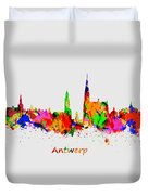 Watercolor Art Print Of The Skyline Of Antwerp In Belgium Duvet Cover