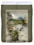 Watercolor Painting Of Beautiful Autumn Fall Landscape Image Of  Duvet Cover