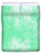 White Silhouetted Trees  Duvet Cover