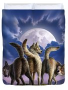 3 Wolves Mooning Duvet Cover by Jerry LoFaro