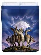 3 Wolves Mooning Duvet Cover by Jerry LoFaro