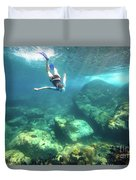 Woman Free Diving Duvet Cover