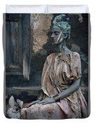 Woman In Bronze Statue Look With Patina Body Paint Duvet Cover