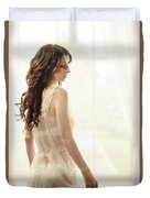 Woman In Vintage Negligee Duvet Cover