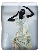 Woman With Black Boby Paint In Paper Dress Duvet Cover