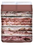Wood Background With Faded Red Paint Duvet Cover