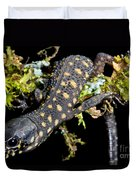 Yellow Spotted Tropical Night Lizard Duvet Cover
