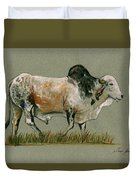 Zebu Cattle Art Painting Duvet Cover