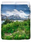 The White Pass And Yukon Route On Train Passing Through Vast Lan Duvet Cover
