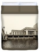 30th Street Station From The River Walk In Sepia Duvet Cover