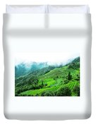 Mountain Scenery In Mist Duvet Cover