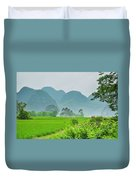 The Beautiful Karst Rural Scenery Duvet Cover
