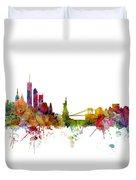 New York Skyline Duvet Cover by Michael Tompsett