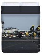 An F-14d Tomcat On The Flight Deck Duvet Cover