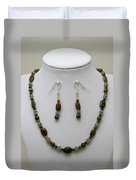 3525 Unakite Necklace And Earring Set Duvet Cover