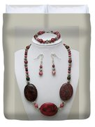 3544 Rhodonite Necklace Bracelet And Earring Set Duvet Cover