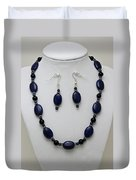 3555 Lapis Lazuli Necklace And Earring Set Duvet Cover
