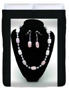 3560 Rose Quartz Necklace And Earrings Set Duvet Cover
