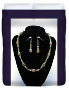3565 Unakite Necklace And Earrings Set Duvet Cover