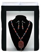 3578 Jasper And Agate Long Necklace And Earrings Set Duvet Cover