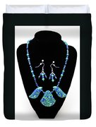 3582 Lapis Lazuli Malachite Necklace And Earring Set Duvet Cover