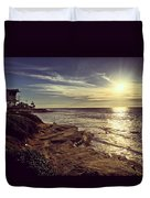 Sunset On La Jolla Beach, California, Usa  Duvet Cover