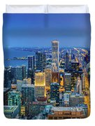 360chicago Rivers Begin To Glow - Skyline Panorama Duvet Cover