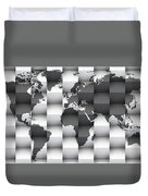 3d Black And White World Map Composition Duvet Cover