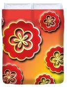3d Digital Flowers Duvet Cover