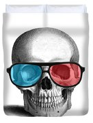 skull with 3D glasses Duvet Cover