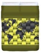 3d World Map Composition 4 Duvet Cover