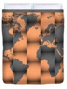3d World Map Composition Duvet Cover