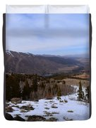 A Snowy Desert Mountain Scene Above Twin Lakes Along The Trail To Monument Ridge In The Eastern Sier Duvet Cover