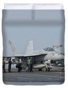 An Fa-18f Super Hornet On The Flight Duvet Cover