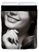 Beautiful Young Smiling Woman Duvet Cover
