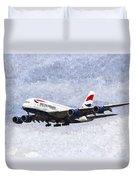 British Airways Airbus A380 Art Duvet Cover
