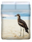 Bush Stone-curlew Resting On The Beach. Duvet Cover