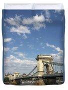 Chain Bridge On Danube River Budapest Duvet Cover