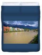 City Of Innsbruck Colorful Inn River Waterfront Panorama Duvet Cover