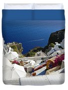 Cliff Perched Houses In The Town Of Oia On The Greek Island Of Santorini Greece Duvet Cover