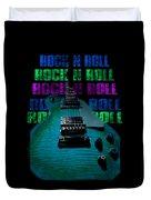 Colorful Music Rock N Roll Guitar Retro Distressed  Duvet Cover