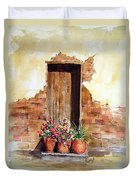 Door With Pots Duvet Cover