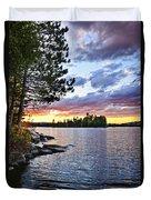 Dramatic Sunset At Lake Duvet Cover