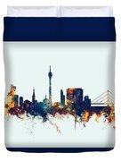 Dusseldorf Germany Skyline Duvet Cover