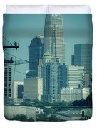 Early Morning Sunrise Over Charlotte North Carolina Skyscrapers Duvet Cover