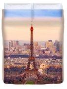 Eiffel Tower At Sunrise - Paris Duvet Cover