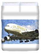 Etihad Airlines Airbus A380 Art Duvet Cover