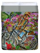 Flower Bike Collection Duvet Cover